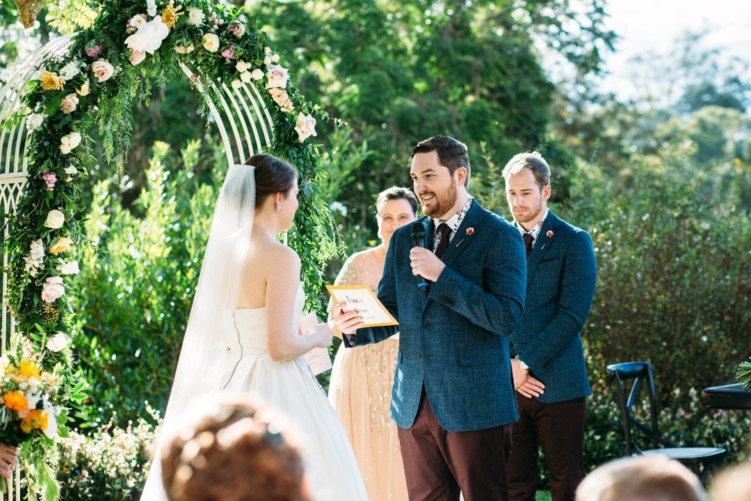 Groom during vows at Spicers Clovelly Estate wedding