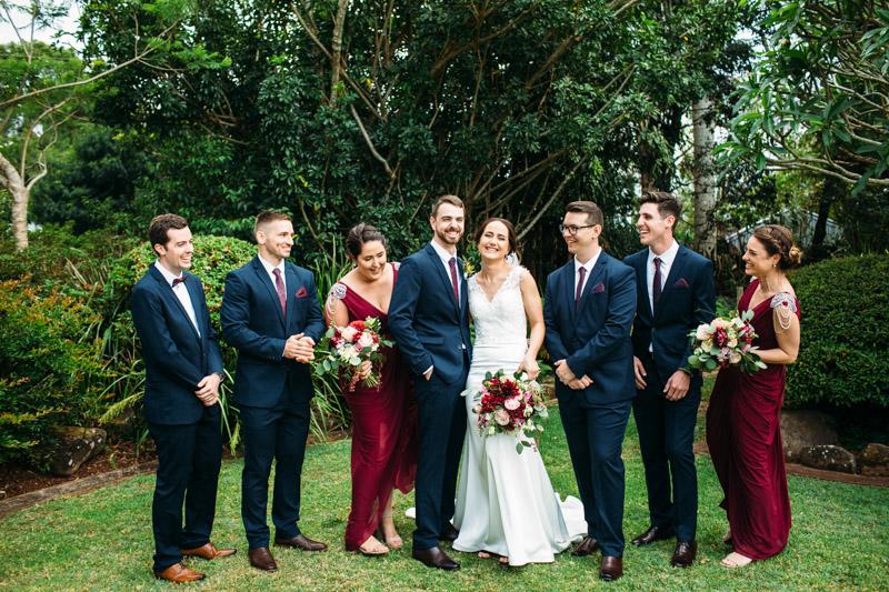 Bridal party photos at Flaxton Gardens wedding